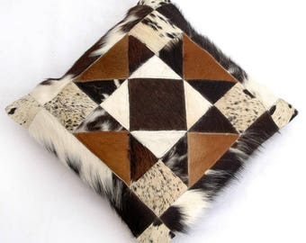 Natural Cowhide Luxurious Patchwork Hairon Cushion/pillow Cover (15''x 15'')a130