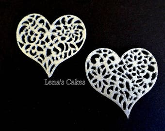 24 SILVER Cake Lace Edible Hearts Sugar Doilies, Wedding Cake Lace Cupcake Engagement Decor 25 Anniversary Valentine Party Edible Decoration