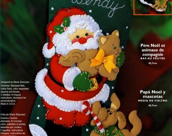 "Santa & Pets 18"" Bucilla Felt Christmas Stocking Kit #84948"