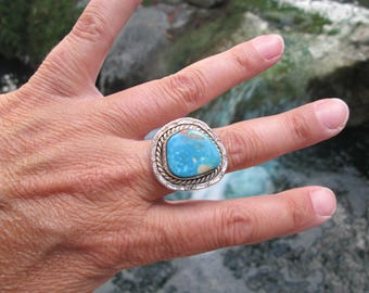 Native American Turquoise and Sterling Silver Ring Size 7