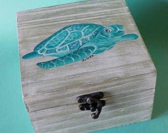 Sea turtle box Nautical Wooden keepsake box Sea turtle decor Sea turtle gifts for teenage girls Jewelry boxes women gift ideas Ocean animals