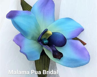 Tropical Hair flower, Hair clip, Silk flowers, Wedding headpiece, Blue orchid, Crystal center, Bridal flowers, Wedding, Bridal, Hair piece