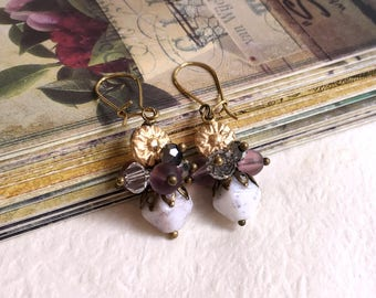 Czech glass earrings Vintage inspired Crystal cluster Antique gold earrings Rustic earrings Gift under 10