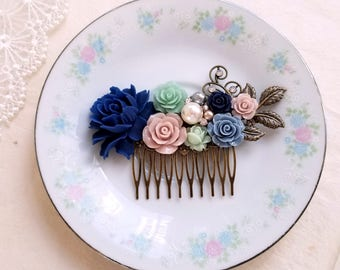 Vintage inspired hair accessory Navy blue Mauve Mint green flower Pearl hair comb Rustic bridal comb