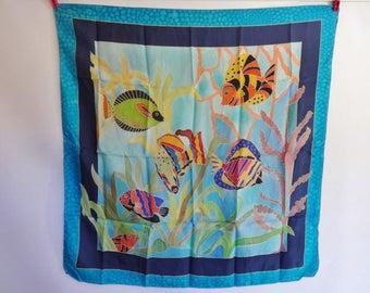 Vintage Tropical Fish Silk Scarf 80cm x 84cm