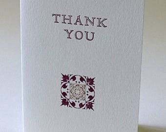 Thank You, letterpress printed
