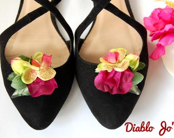 Tropical flower Shoe Clips, floral,  Pin Up, Rockabilly, Vintage style