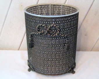 Ornate Waste Can Trash Can Hollywood Regency Brass Metal And Plastic Decorative