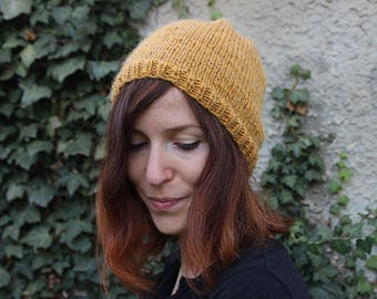Yellow mustard slouchy Beanie - man/woman