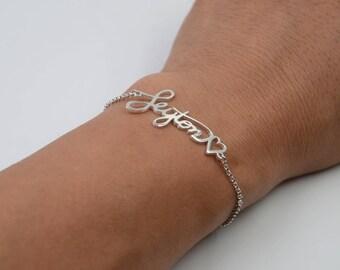 Memorial Handwriting Bracelet-Signature Bracelet-Personalized Keepsake Jewelry in Sterling Silver-Christmas Gift