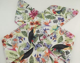 Tropical White With Birds and Flowers Handmade Fabric Pinup-Inspired Head Scarf