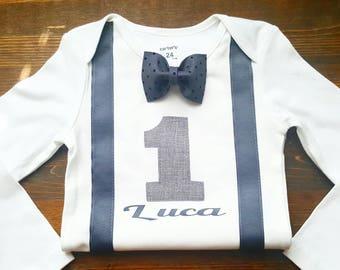 First Birthday Outfit Boy  - Boys First Birthday Outfit - First Birthday Boy Outfit - 1st Birthday Outfit Boy - Bow Tie Suspenders Birthday