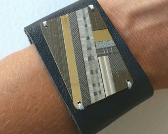 Upcycled leather wrist cuff; a bespoke cuff with a one of a kind laminate feature.