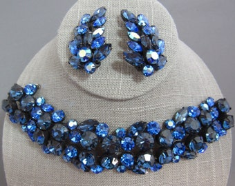 Exquisite Rengency signed triple row sapphire blue rhinestone bracelet and earrings Demi parure , rare!!!