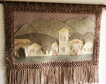 Large Vintage Woven Wall Hanging