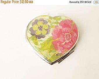 CIJ Sale - ends 7/31 Compact Mirror - Heart Compact - Mirror Compact - Pocket Mirror - For Makeup Bag - Bridesmaid Gift