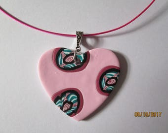 Pink heart statement necklace