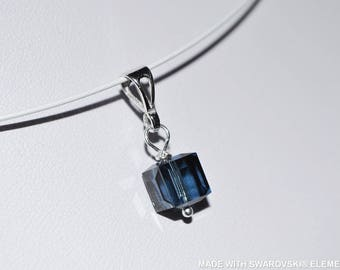 SWAROVSKI blue cube Crystal pendant / 925 sterling silver