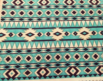 Native American Fabric, Sawtooth Fabric - Spirit of the The Buffalo Tana Mueller for Blank Quilting  8120 75 Turq  - Priced by Half yard