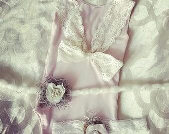 6 month Sadie light pink baby lace romper set