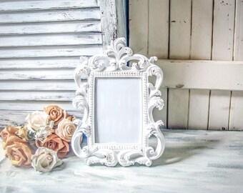 Rustic White Table Number Vintage Style Ornate 5 x7 Frame, Shabby Cottage Chic White Frame, Wedding Frames Antique White Nursery Frame, Gift