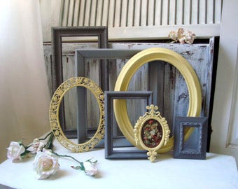 Yellow and Gray Picture Frames, Shabby Chic Painted Frames, Cottage Chic Grey and Yellow Frames, Nursery Frames, Made to Order Frame Set