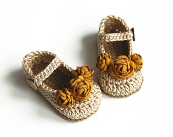 OLGA Gold Baby Girl Shoes, Crochet Baby Mary Janes Shoes, Flower Baby Booties, Size 0-3 months, Ready to Ship