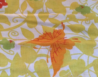Vintage Pillow case Set, Yellow, Orange and green, butterflies