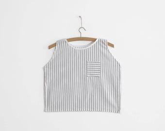 Handmade B&W Stripy top - XS/S