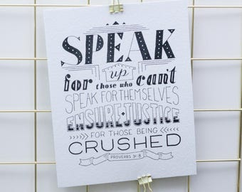Hand-Lettered Print, Bible Verse, Wall Art, 8x10 Print, Recycled Paper, Speak Up, Verse Art, Proverbs 31