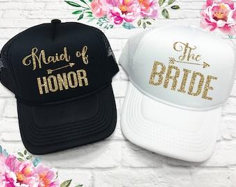 Bride and Maid of Honor Trucker Hat - Bridesmaid Hats - Bridesmaid Caps - Bachelorette Party Caps - Wedding Hats - Wedding Caps