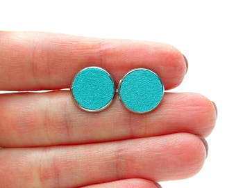 Turquoise Green Leather Stud Earrings- Leather Earrings-Simple Earrings-Post Earrings