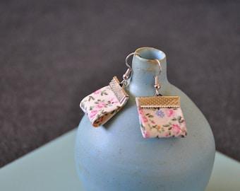 Earrings fabric liberty pink, green and ecru