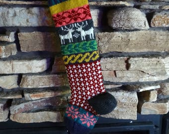 Personalized Christmas Stockings, Knit Christmas Stockings, Knitted Christmas Stocking, Christmas Stockings, Gray Reindeer, Pink Snowflakes