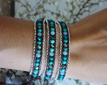 Turquoise Three Wrap Bracelet with Silver chain
