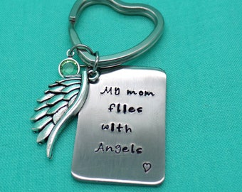 """Personalized """"My Mom flies with angels"""" """"My Dad flies with angels"""" Memorial hand stamped,In memory of necklace or keychain"""