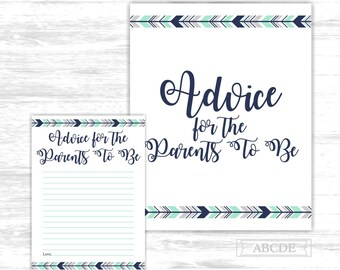 Tribal arrows advice for the parents to be boho Mint Navy Woodland Baby shower Advice for the parents to be Cards (PDWSI501)