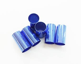 2/5/10 pcs, 16x30mm brass tube, color electroplated, Blue