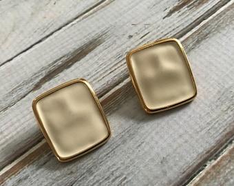 Ivory enamel clip on earrings gold monet clip on earrings digned geometric rectangular clip ons 80s jewelry