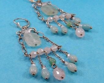 Pastel - Chandelier - Drop - Dangle- Boho -Silver - Rose Quartz - Seafoam Quartz - Earrings - Gift for Her