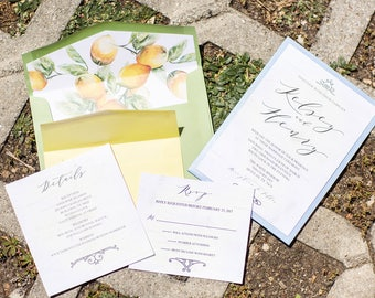 5x7 Back Pocket Wedding Invitation in Blue, Green & Yellow with White Wood and Lemons — Includes 2 Inserts and Custom Envelope Liner