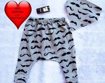 Baby boys pants, Baby boys harem pants, boys pants, moustache print,baby boys pants 00, baby pants  size 6 months,Boys pants size 1.FREE BIB