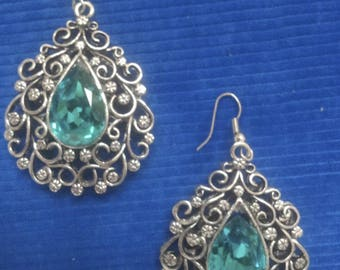 SILVER EARRING FOR RHINESTONES ON METAL WORK TURQUOISE