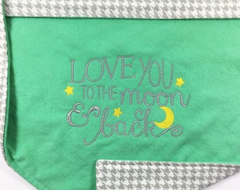 Nursery bedding blankets car seat covers and by countrystitched love you to the moon and back blanket personalized baby gift gender neutral baby blanket gray negle Images