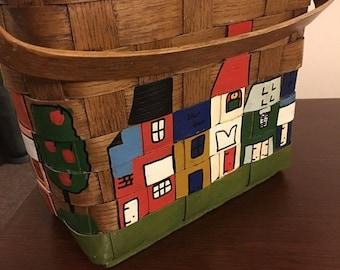 Blizzard Sale Caro Nan Basket Purse - Vintage Basket Bag - 70's Basket Purse - Handpainted Picnic Basket Purse