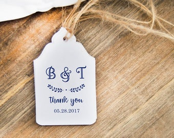 Wedding Gift Tags, 24 Thank You Favor Tags, Custom Name Initials Tags, Bridal Shower Hangtags