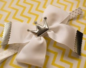 Princess Silver and White grosgrain bow with a crown - Baby / Toddler / Girls / Kids Headband / Hairband / Barrette / Hairclip