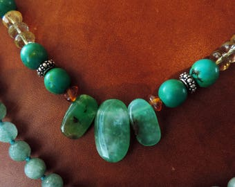 Silver necklaces and gemstones: Chrysoprase, amber, Citrine, Prehnite and Pyrite. #3CRYZO
