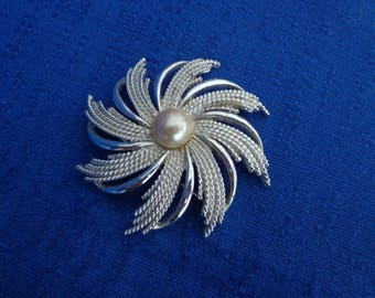 1969 Sarah Coventry Silvery Sunburst Pin, Sarah Coventry Pearl Brooch