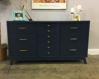 AVAILABLE: Navy Lacquered MCM Dresser